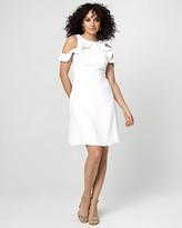 Le Château Crepe Cold Shoulder Ruffle Dress