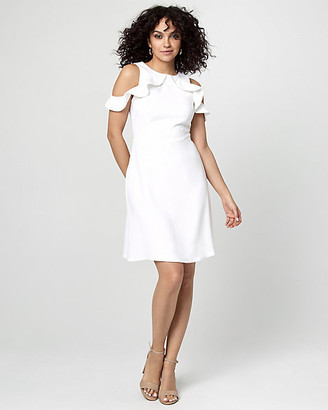 Le Château Crepe Cold Shoulder Ruffle Dress