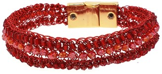 Narrow Red Hand Crochet Signature Cuff Bracelet