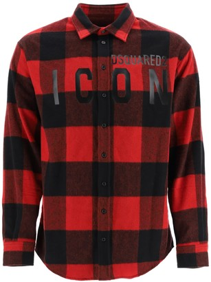 DSQUARED2 ICON CHECHERED SHIRT 46 Red, Black Wool