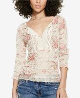 Denim & Supply Ralph Lauren Floral-Print Crochet-Bib Henley