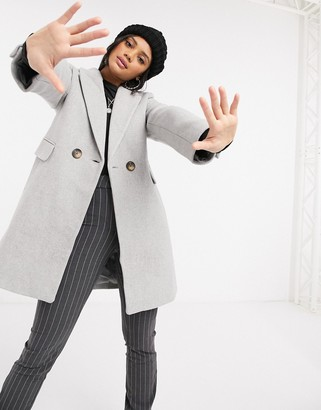 Stradivarius double-breasted tailored coat in grey