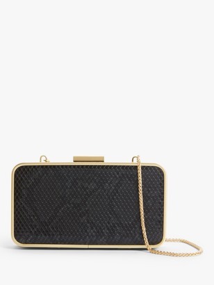 John Lewis & Partners Hard Box Clutch Bag, Black