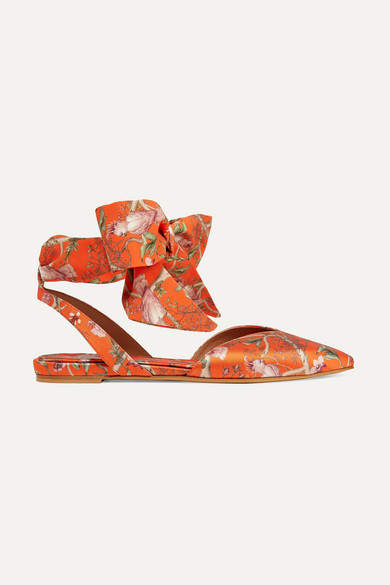 Tabitha Simmons Johanna Ortiz Vera Printed Silk-satin And Crepe De Chine Point-toe Flats - Orange