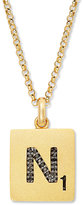 "Black Diamond ScrabbleTM 14k Gold over Sterling Silver Accent ""N"" Initial Pendant Necklace"