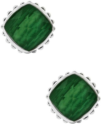 Lagos Sterling Silver Malachite Cushion Stud Earrings
