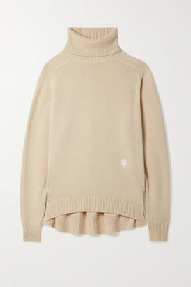 Chloe - Embroidered Cashmere Turtleneck Sweater - Neutrals