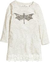 H&M Lace-trimmed Jersey Dress - Light beige melange - Kids