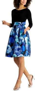Jessica Howard Floral-Skirt Fit & Flare Dress