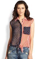 Equipment Diem Silk Chiffon Flag-Print Shirt