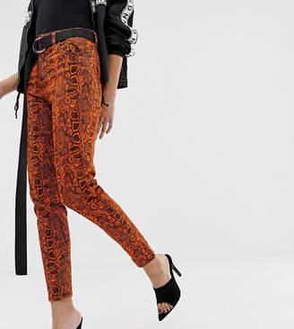 NA-KD Na Kd skinny jeans with neon snake print in orange