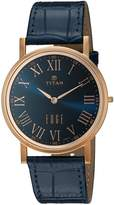 Titan Men's 'Edge' Quartz Stainless Steel and Leather Automatic Watch, Color: (Model: 1595WL02)