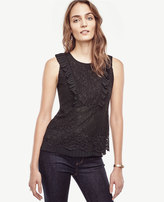 Ann Taylor Lace Pleated Peplum Shell