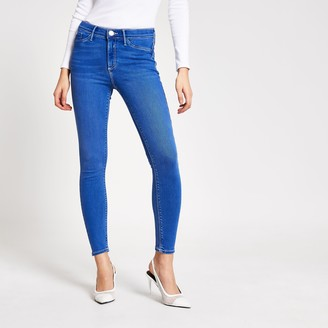 River Island Womens Bright Blue Molly mid rise jeggings