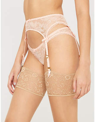Agent Provocateur Hinda lace and mesh suspender belt