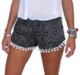 Sunnywell Women's Tassel Edge Floral Print Beach Shorts M