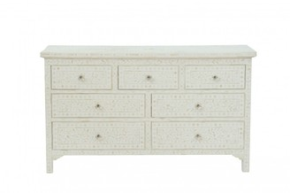 Ruby Star Cordelia Bone Inlay 7 Drawer Chest Floral White