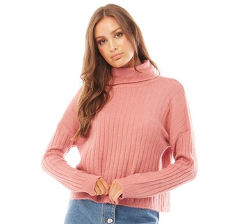 Brave Soul Womens Zinnah Roll Neck Knit Jumper Dusty Rose