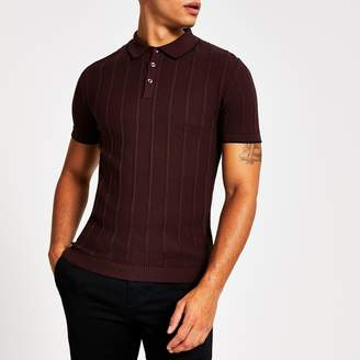River Island Mens Dark Red knitted stitch muscle fit polo shirt