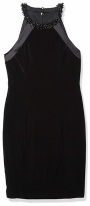 Carmen Marc Valvo Women's Velvet Halter Cocktail Dress W/Beaded Choker