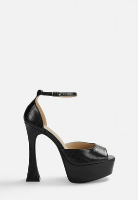 Missguided Black Mock Croc Chunky Sole Heels