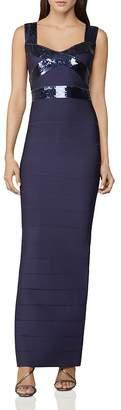Herve Leger Banded Sequin-Embellished Gown