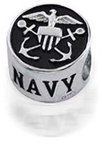 Bling Jewelry Patriotic 925 Sterling Silver US Navy Bead fits Pandora Biagi Troll Charms