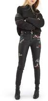 Topshop Women's Moto Jamie Scribble Coated Skinny Jeans