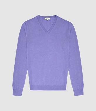 Reiss Earl - Merino Wool V-neck Jumper in Purple