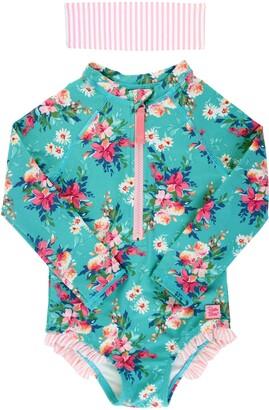 RuffleButts Fancy Floral One-Piece Rashguard Swimsuit & Head Wrap Set