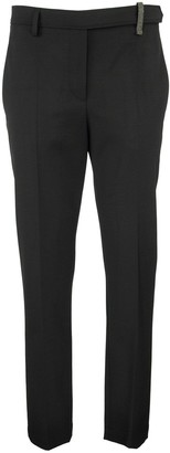 Brunello Cucinelli Techno Virgin Wool Couture Gabardine Boy Fit Cigarette Trousers With Shiny Loop