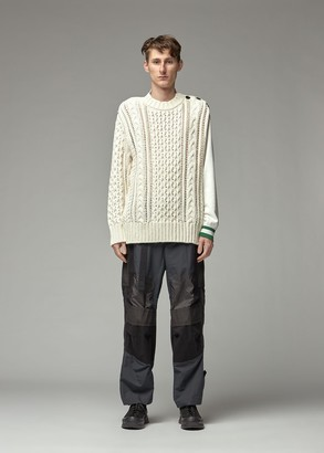 Sacai Men's Cable Knit Sweater in Off White Size 1 Cotton/Polyester