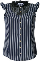 GUILD PRIME striped lace bib sleeveless shirt - women - Polyester - 34