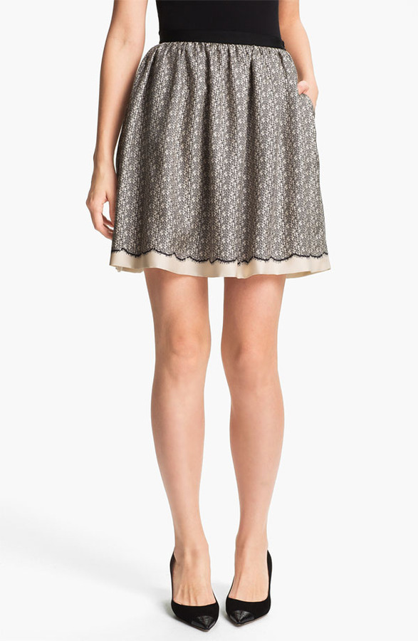 Nordstrom Miss Wu Lace Print Silk Twill Skirt Exclusive)