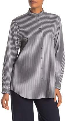 Lafayette 148 New York Lenno Mandarin Collar Striped Shirt