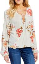 O'Neill Belle Floral Printed Lace-Up Long Sleeve Peasant Top