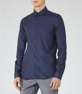 Reiss Nicky - Linen Button Down Shirt in Blue, Mens
