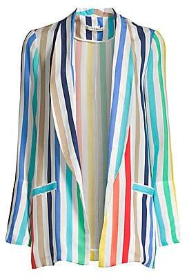 Alice + Olivia Women's Kylie Rainbow Stripe Shawl Collar Jacket