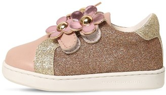 Little Marc Jacobs GLITTERED LEATHER STRAP SNEAKERS
