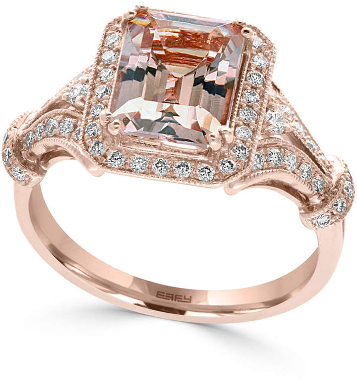 Effy Morganite (2-1/5 ct. t.w.) and Diamond (1/3 ct. t.w.) Ring in 14k Rose Gold