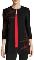 Ming Wang 3/4-Sleeve Embroidered Jacket, Red/Black