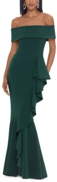 Betsy & Adam Off-The-Shoulder Mermaid Gown