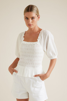 Seed Heritage Broderie Shirred Top