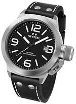 TW Steel Canteen Leather Quartz Watch with Black Dial Analogue Display and Black Leather Strap CS2