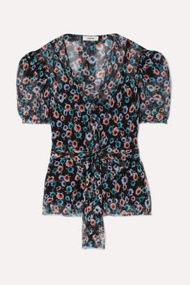 Jason Wu Belted Floral-print Silk-georgette Blouse - Black