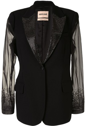 Roberto Cavalli Sheer-Sleeve Crystal-Embellished Blazer