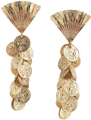 Devon Leigh Coin Cluster Fan Post Earrings