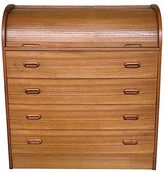 One Kings Lane Vintage Roll-Top Danish Modern Secretary Desk - Eat Drink Home - brown
