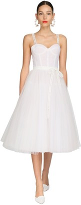 Carolina Herrera Tulle Midi Dress W/ Logo Straps