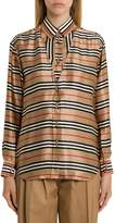 Burberry Cut-out Detail Icon Stripe Silk Shirt